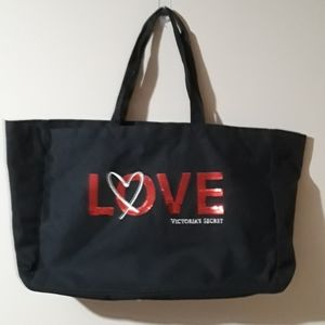 PINK Love Duffel bag black with Red sequins